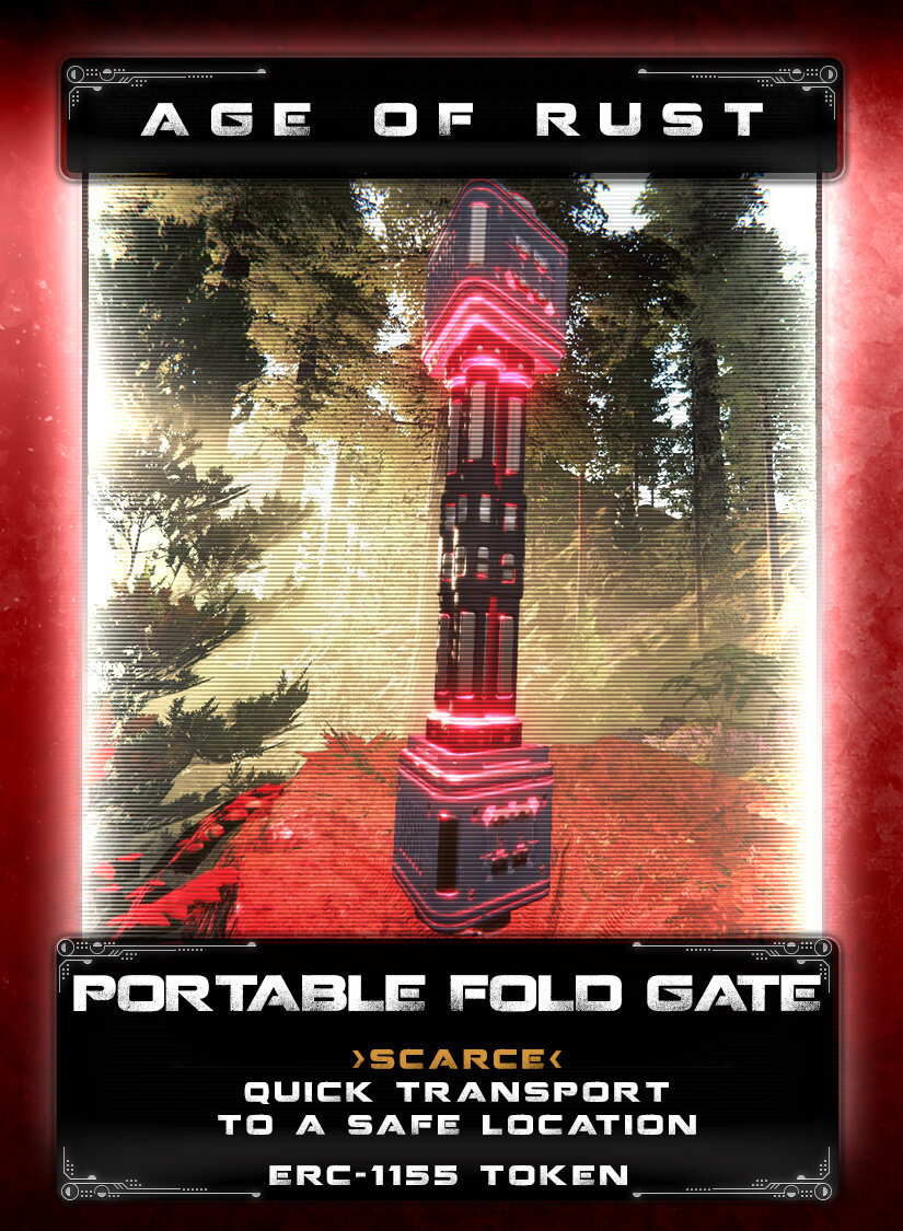Portable Fold Gate - These were recovered from a downed mech supply transport on Taphao during the war. Each one has a quantum entangled partner which is stashed in a safe location that provides a quick one-way transport for someone holding one. They overheat quickly and can only be used sparingly, mainly used for emergencies. They only have enough enough power for a short distance, so they can't be used to move anything between planets or solar systems. No one is sure why the Mechs were in possession of them, something to be investigated in the future... or the past.
