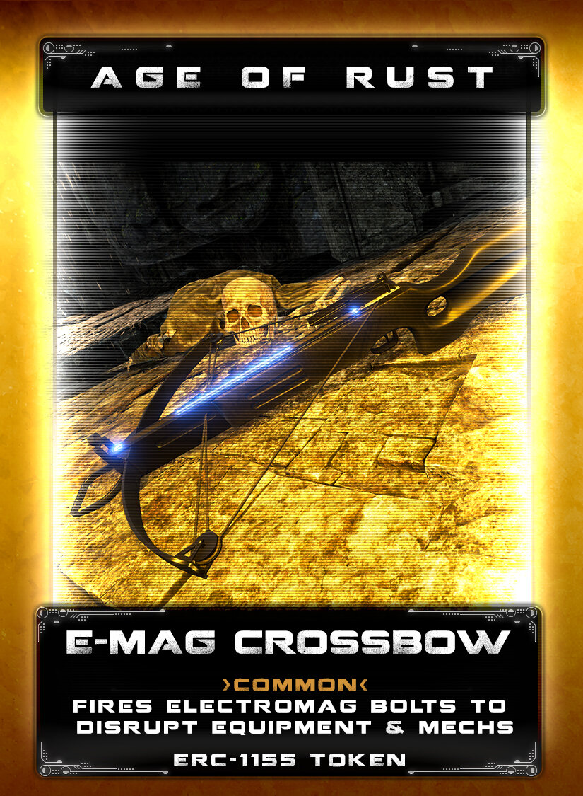 E-Mag Crossbow - Gaining a reputation for being light, compact, and powerful, this crossbow's secret lies in its ability to fire an electromagnetic bolt. The bolt delivers a powerful charge that can disrupt heavy industrial equipment and mechs. A scope provides additional accuracy for that much-needed well placed shot to hard to reach areas.
