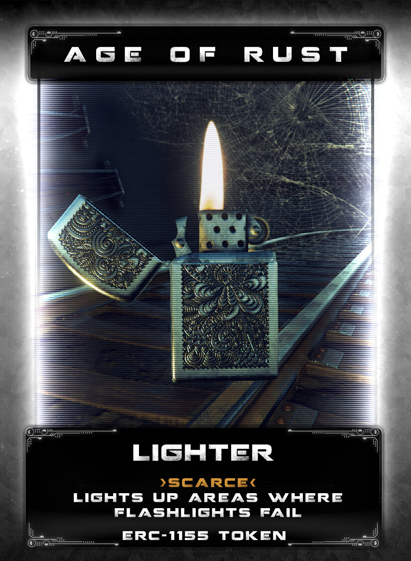 Lighter - A relic of the old world but still very handy while out exploring dangerous environments. Flips open and provides a flame that is impervious to dampening fields that can disable flashlights, nightvision, and thermal imaging.