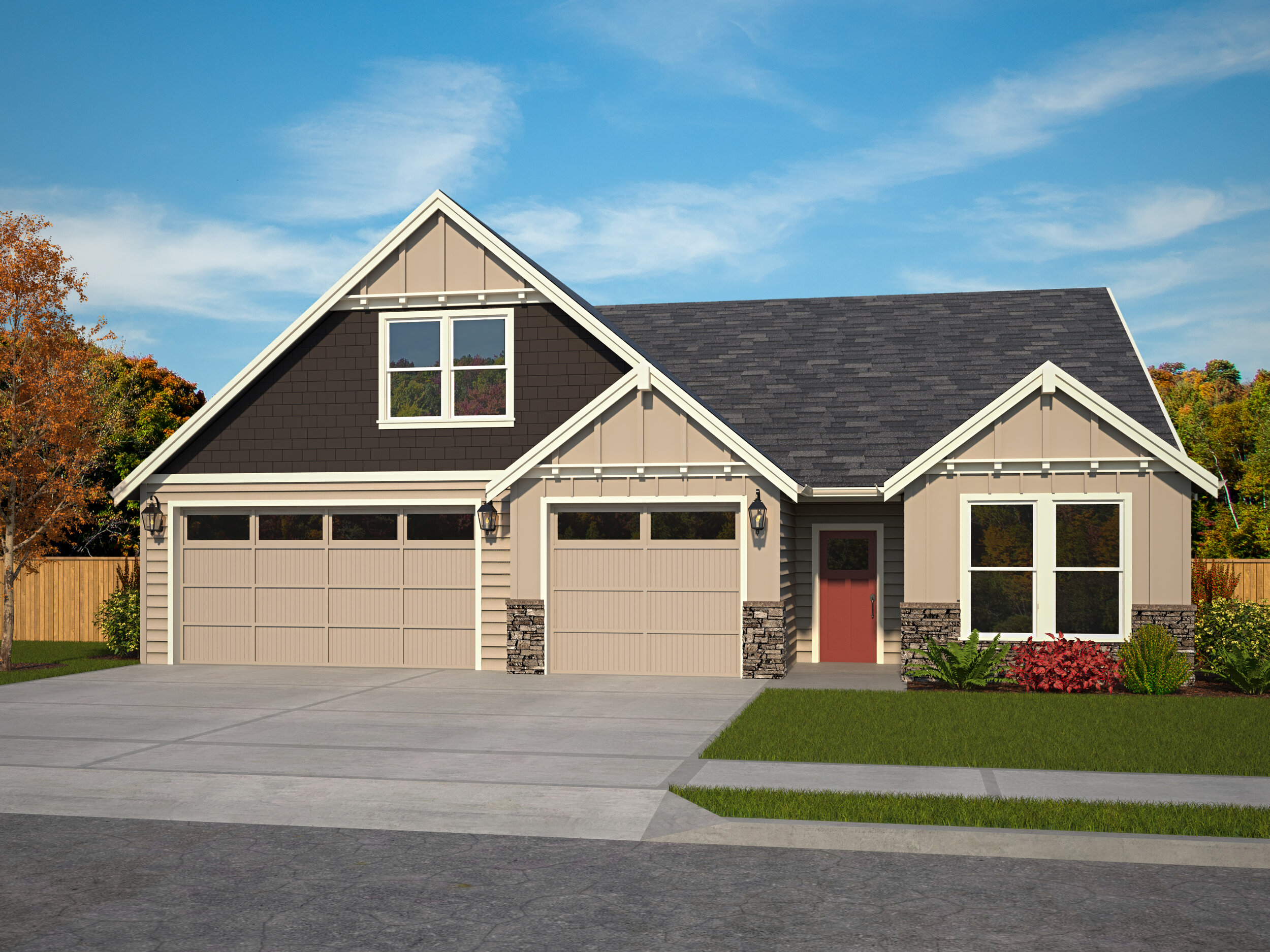 The 2425 B Elevation with 3 Car Garage