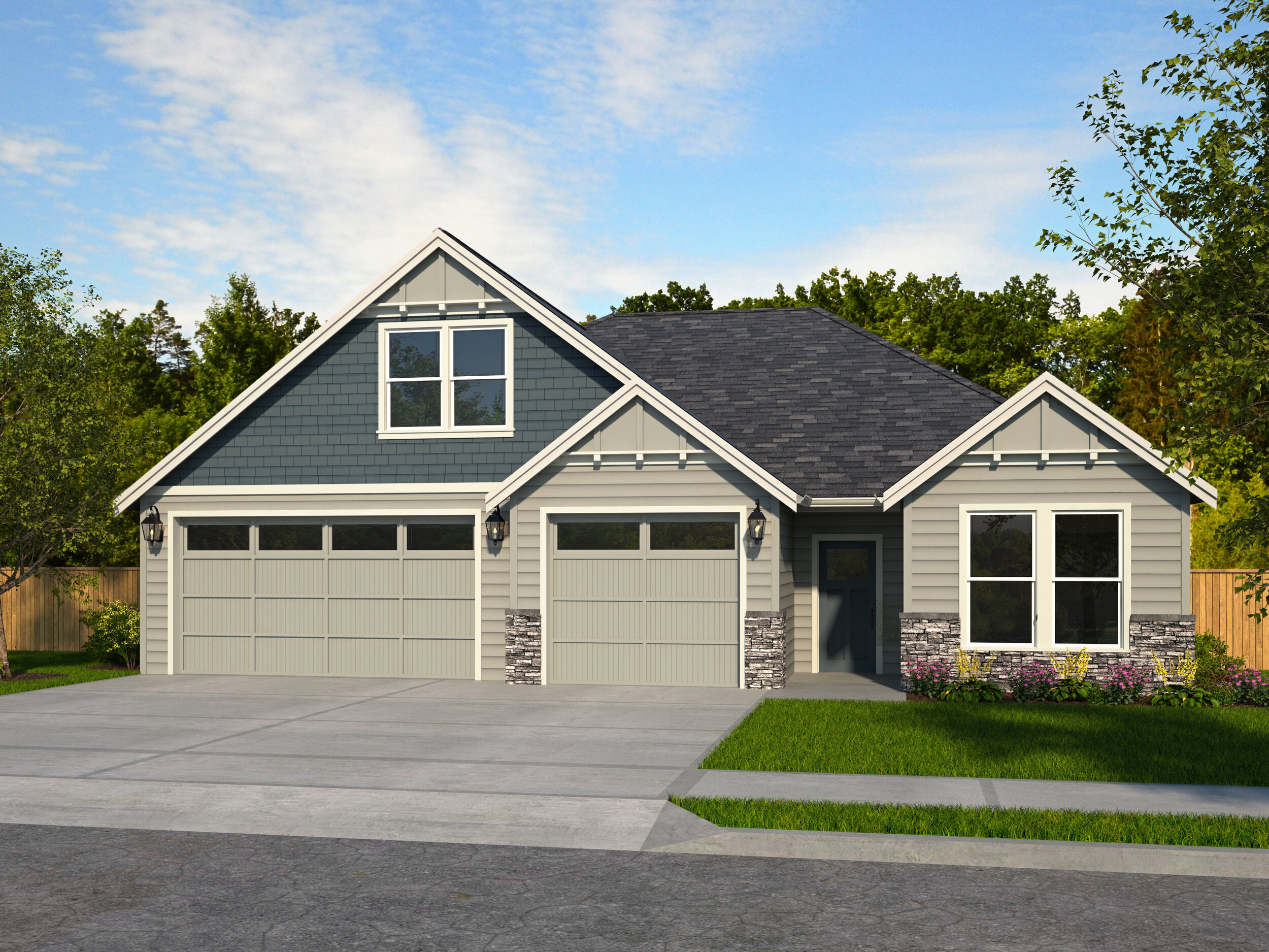 The 2425 A Elevation with 3 Car Garage