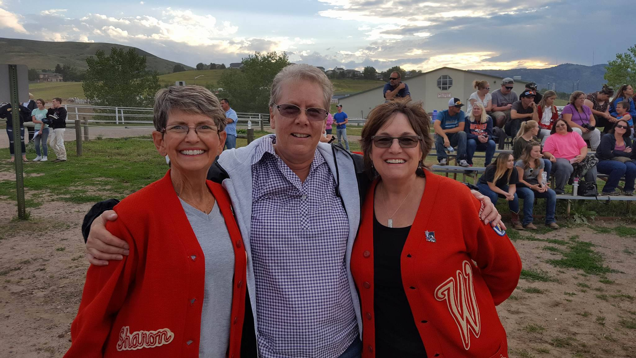 Alumni: Sharon Easley Walker (left), Judy Hudgins Kinyon (center), and Debbie Easley Emert (right). We were so thrilled that Sharon made the trip from California!