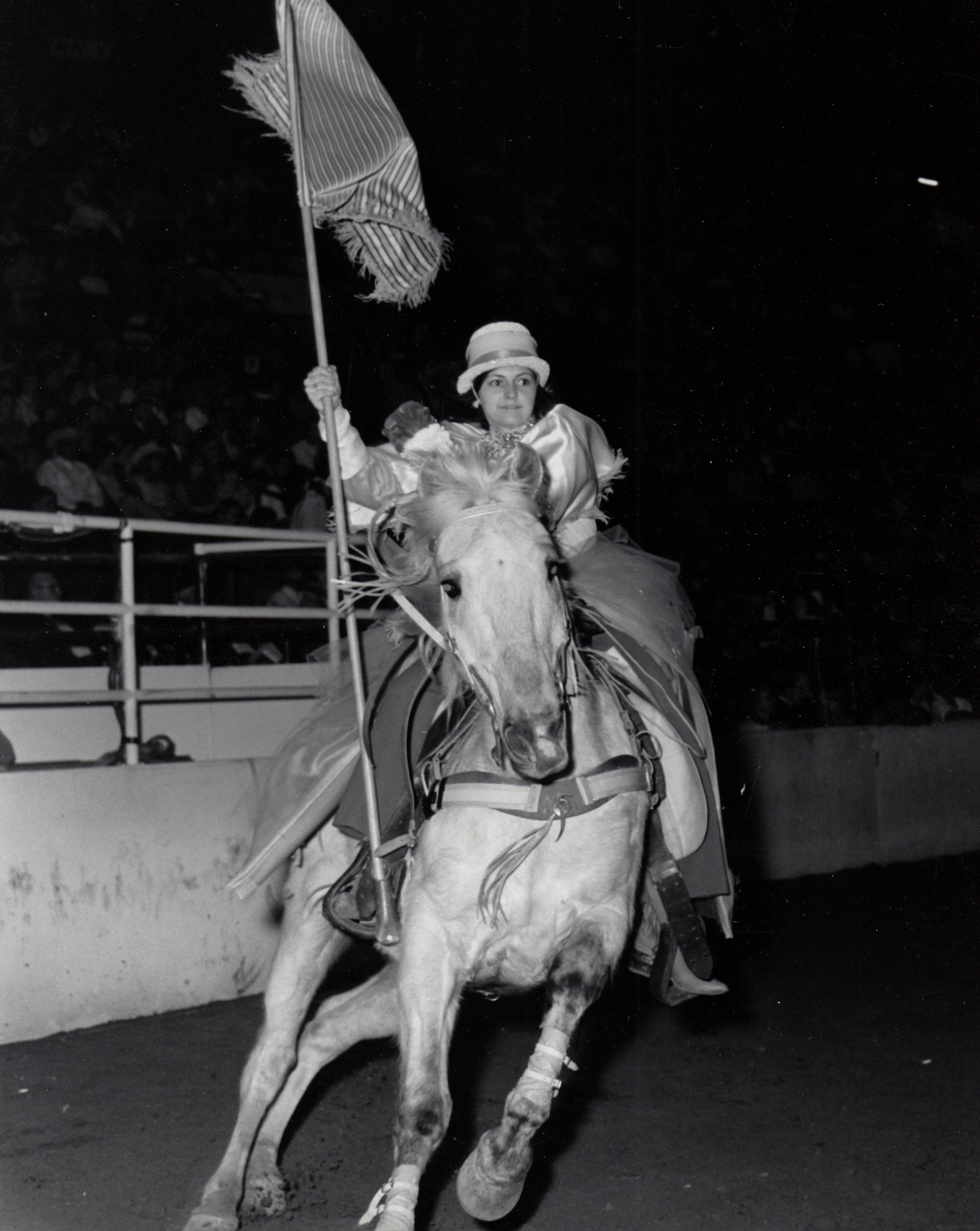Varsity Red Team Major, Sharon Easley, performing at the 1970 National Western Stock Show.