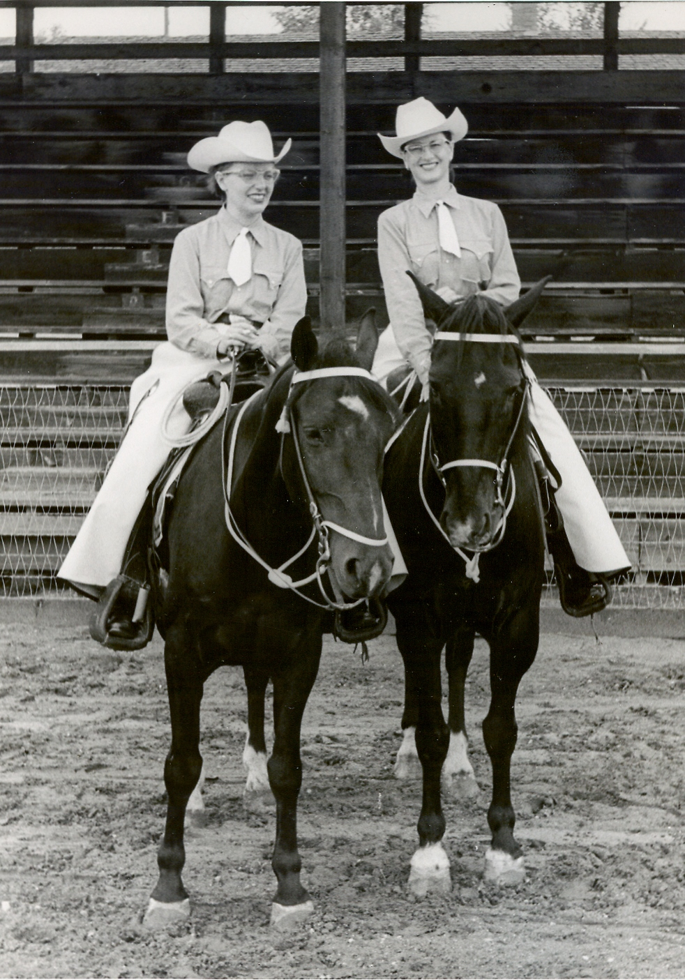 Westernaires warming up before their performance at the Adams County Horse Show in August of 1953