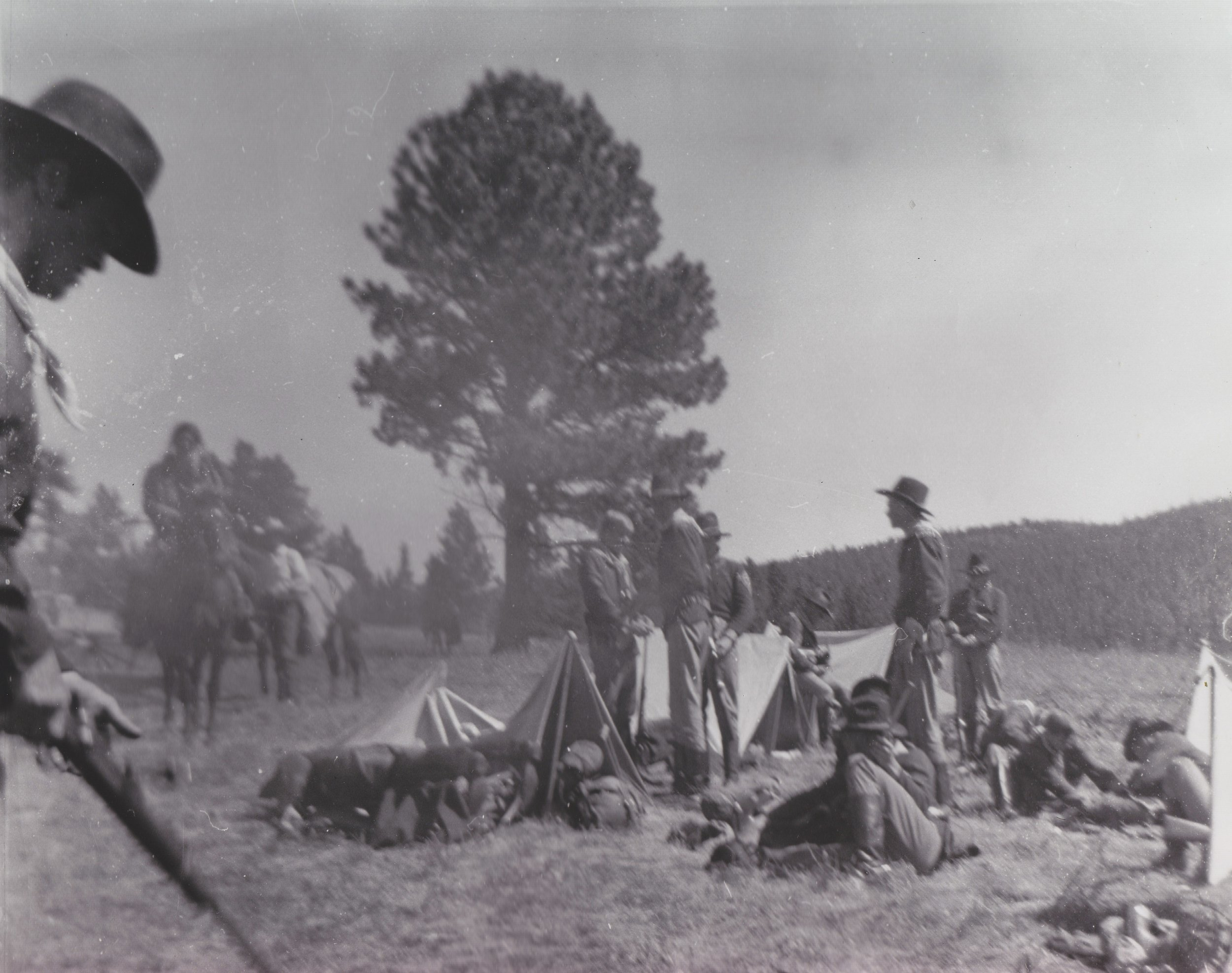 Production crew and Westernaires on the set of  Stagecoach  (1966) preparing for the opening scenes.