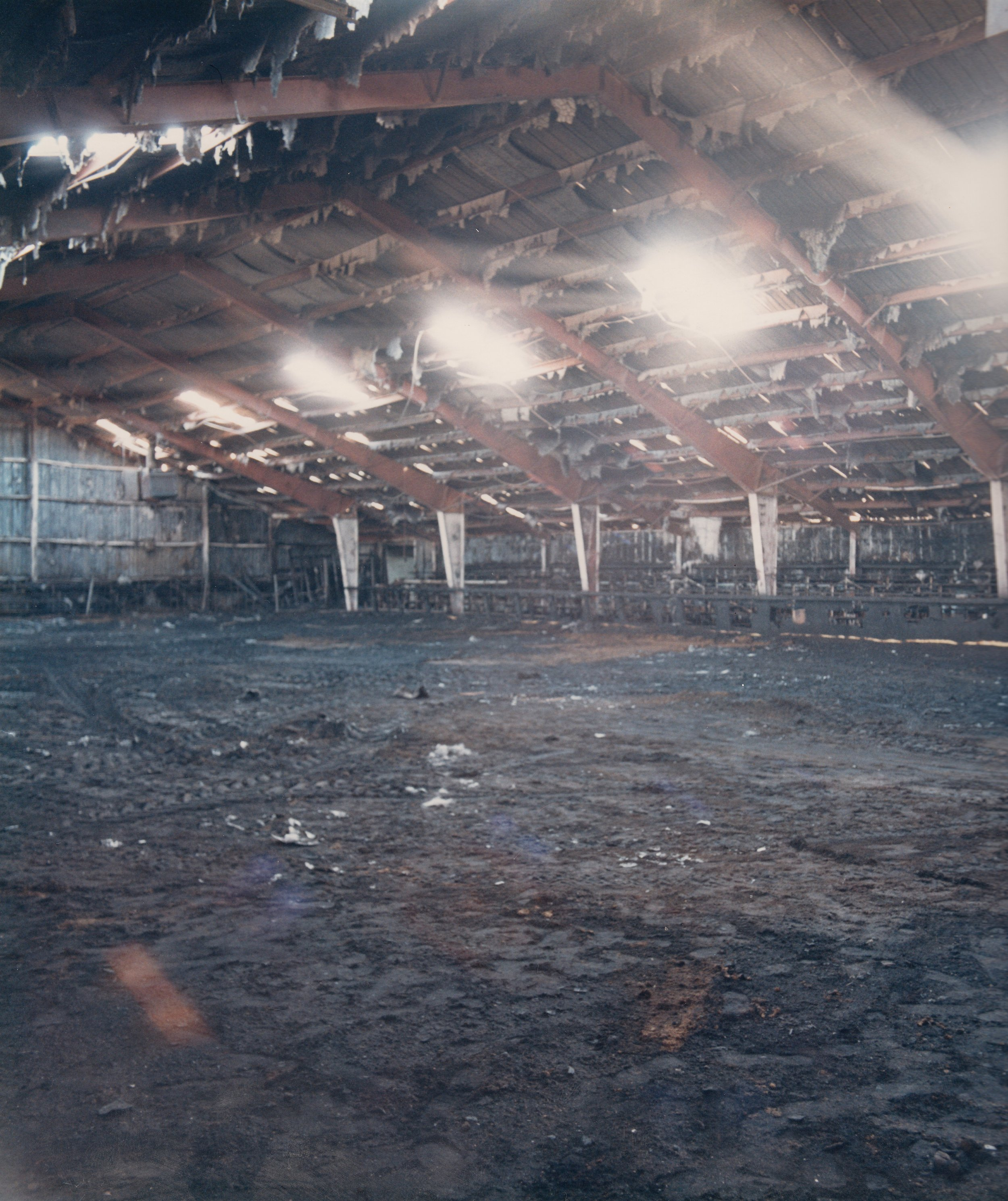 The Westernaires Red Arena's interior, post-fire, March 1986.  This arena was absolutely essential to Westernaires' ability to practice during the winter months.   Three beloved Westernaires rental horses perished in the fire.