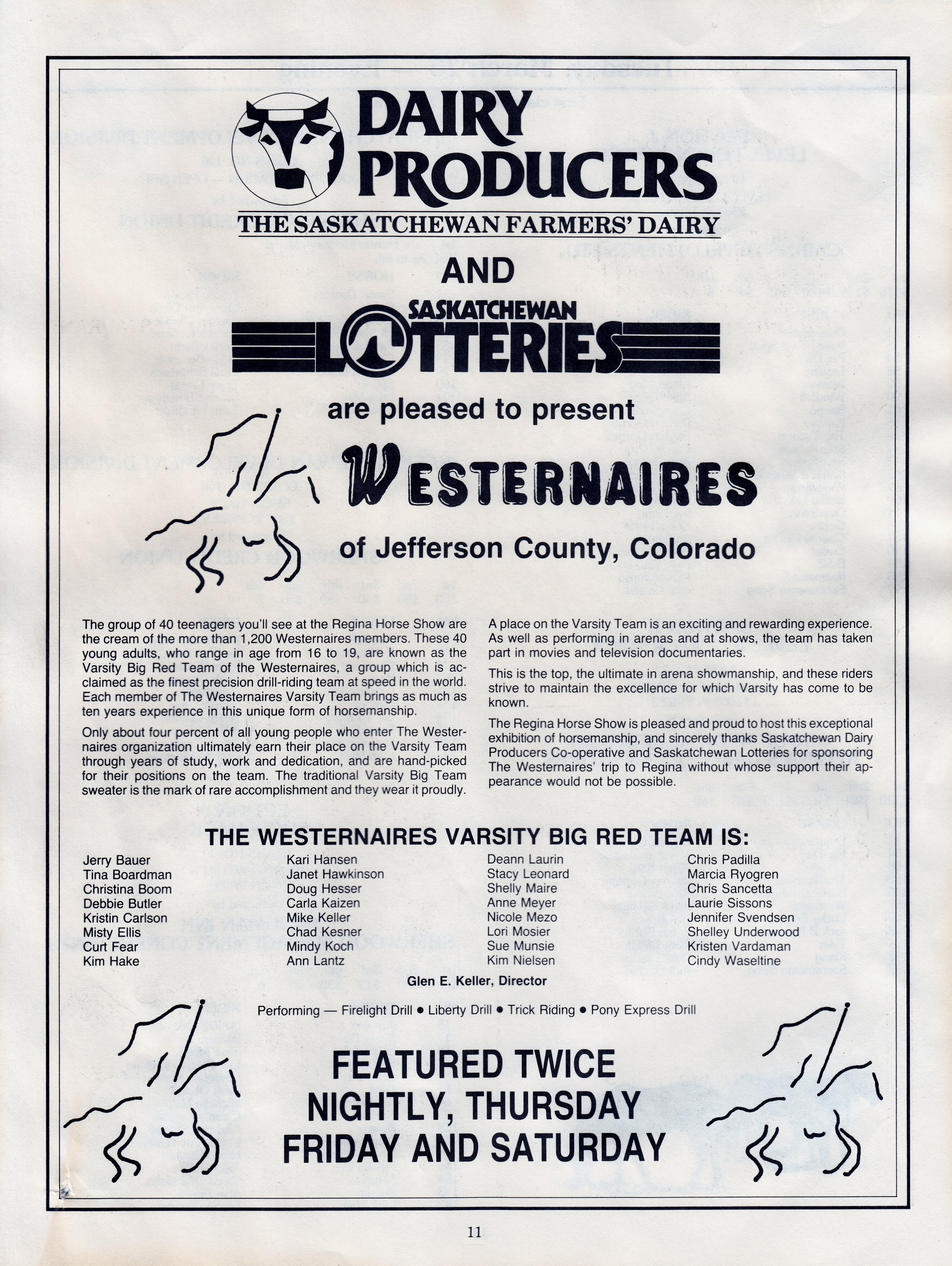 The Regina Horse Show's program write-up about their 1986 feature act: Westernaires Varsity Big Red Team