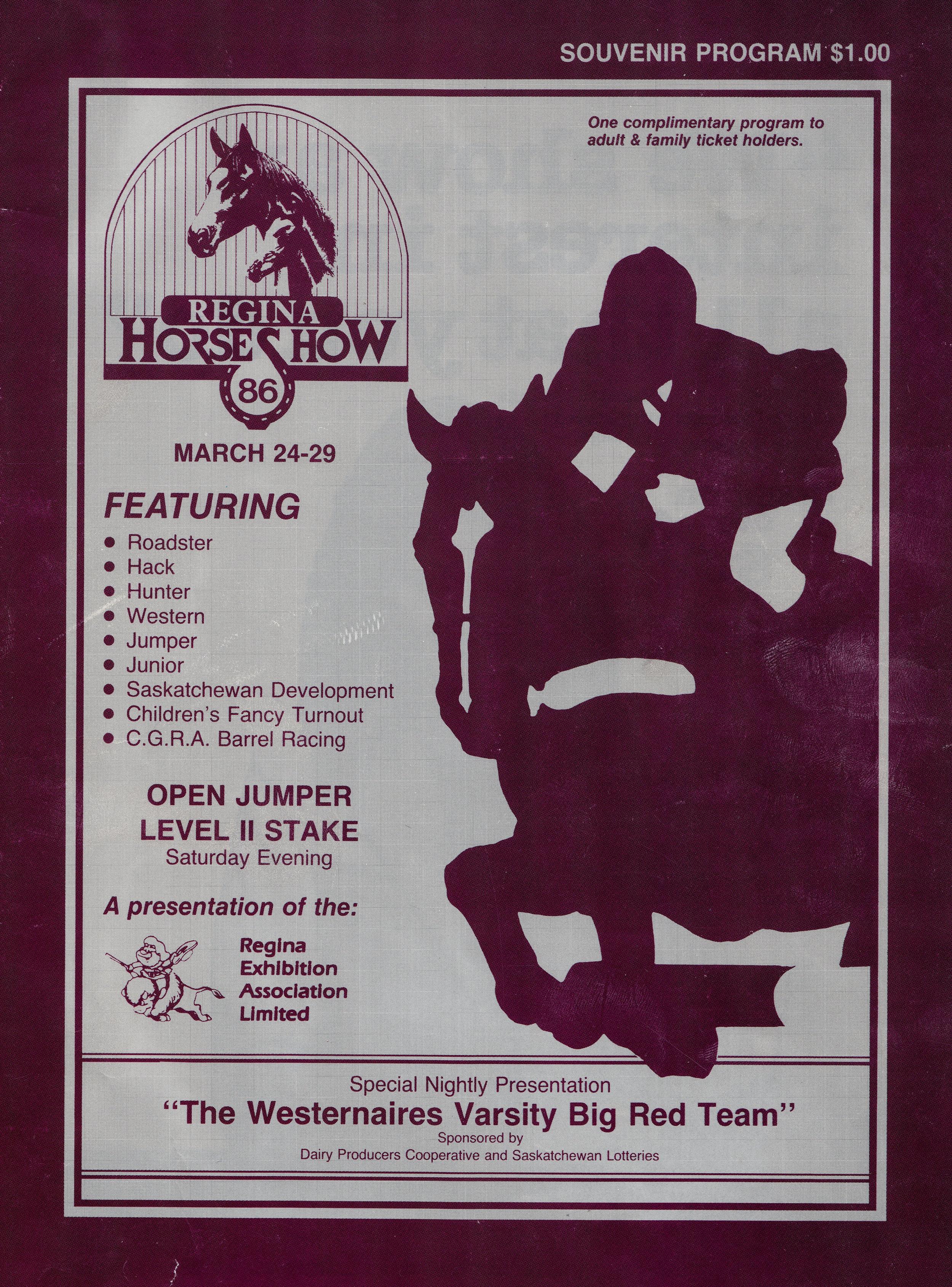 The 1986 Regina Horse Show program cover