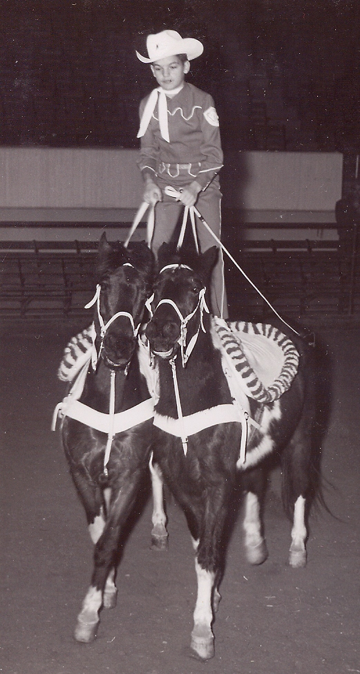 Dick Hammond, Westernaires roman rider, was featured in the Westernaires acts at the 1955 National Western Stock Show.