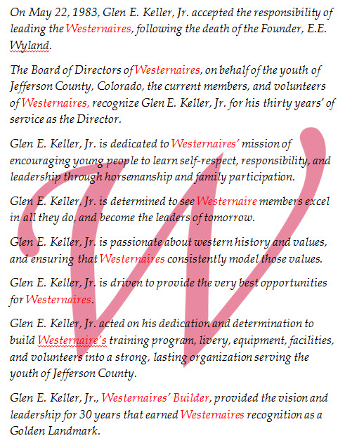 Proclamation made by the Westernaires board of directors to honor Glen E. Keller, Jr.'s award