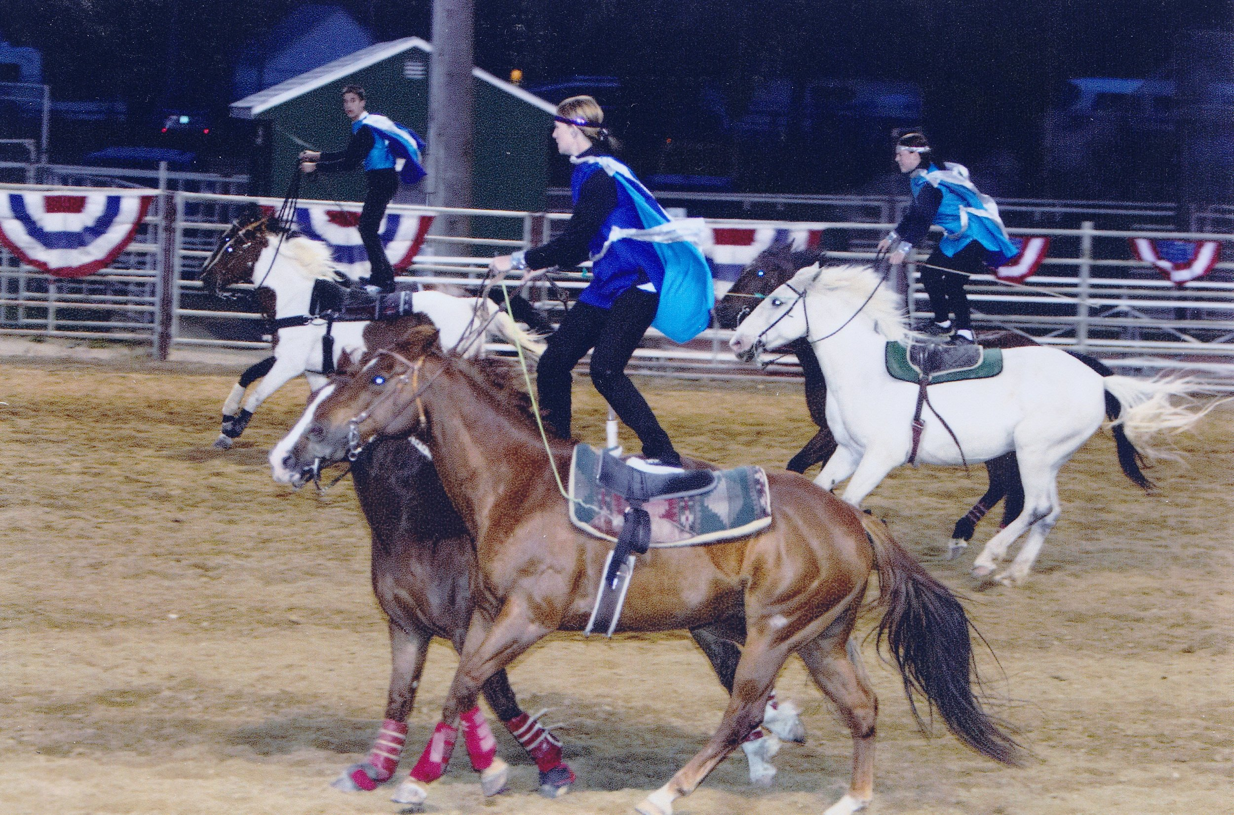 The Westernaires roman riding team deftly performs at the 2004 Sheridan, Wyoming Buffalo Bill Days extravaganza