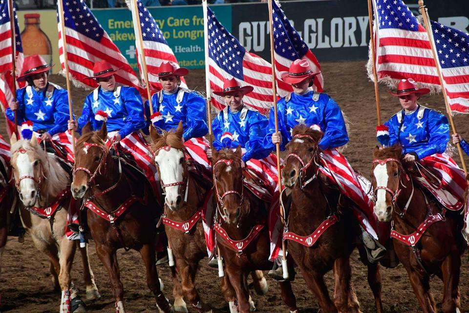 """Varsity Red Team riders in their """"All American"""" costumes at the 2017 National Western Stock Show"""