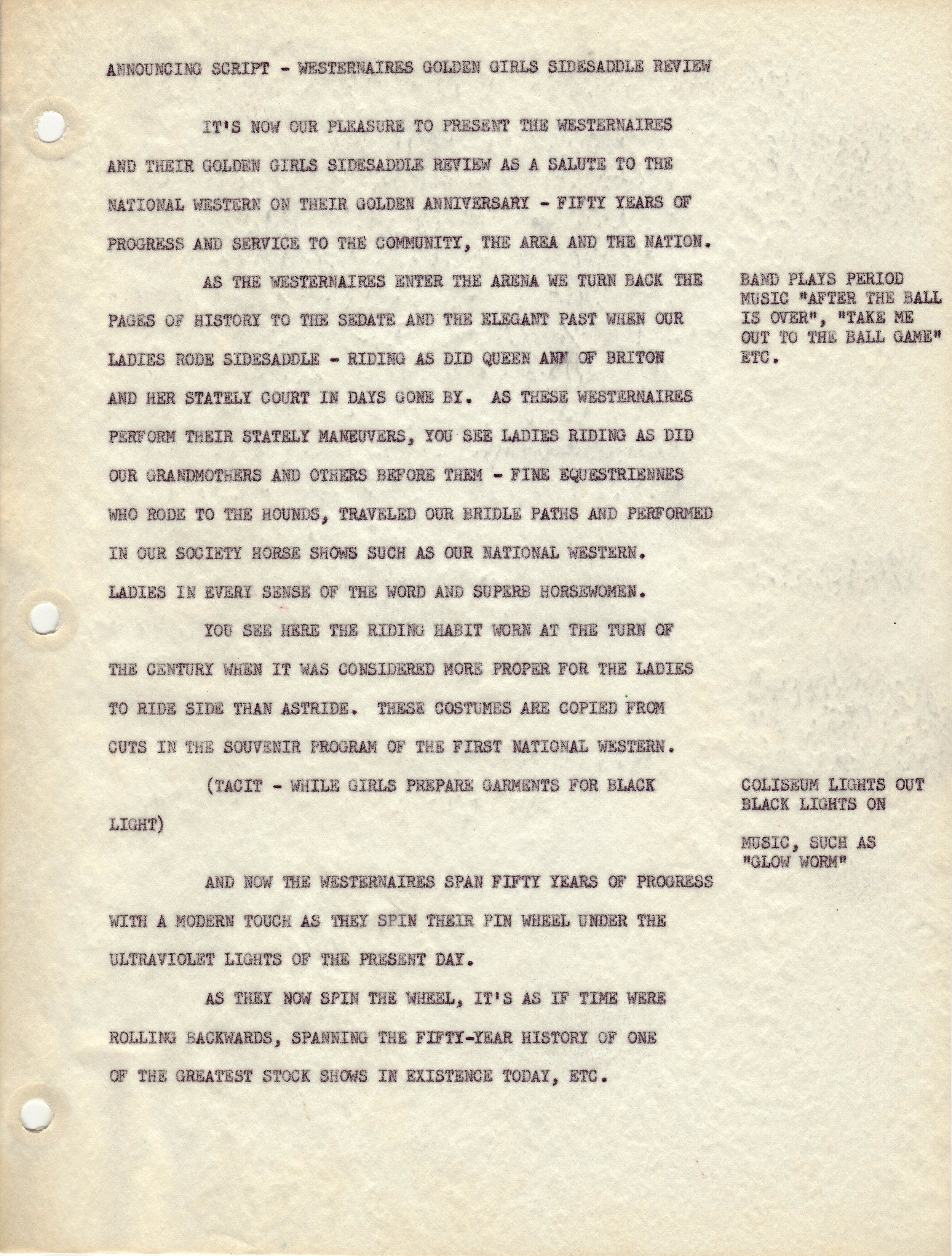 The announcer's script read during the 1956 performance of the Golden Sidesaddle Review act.
