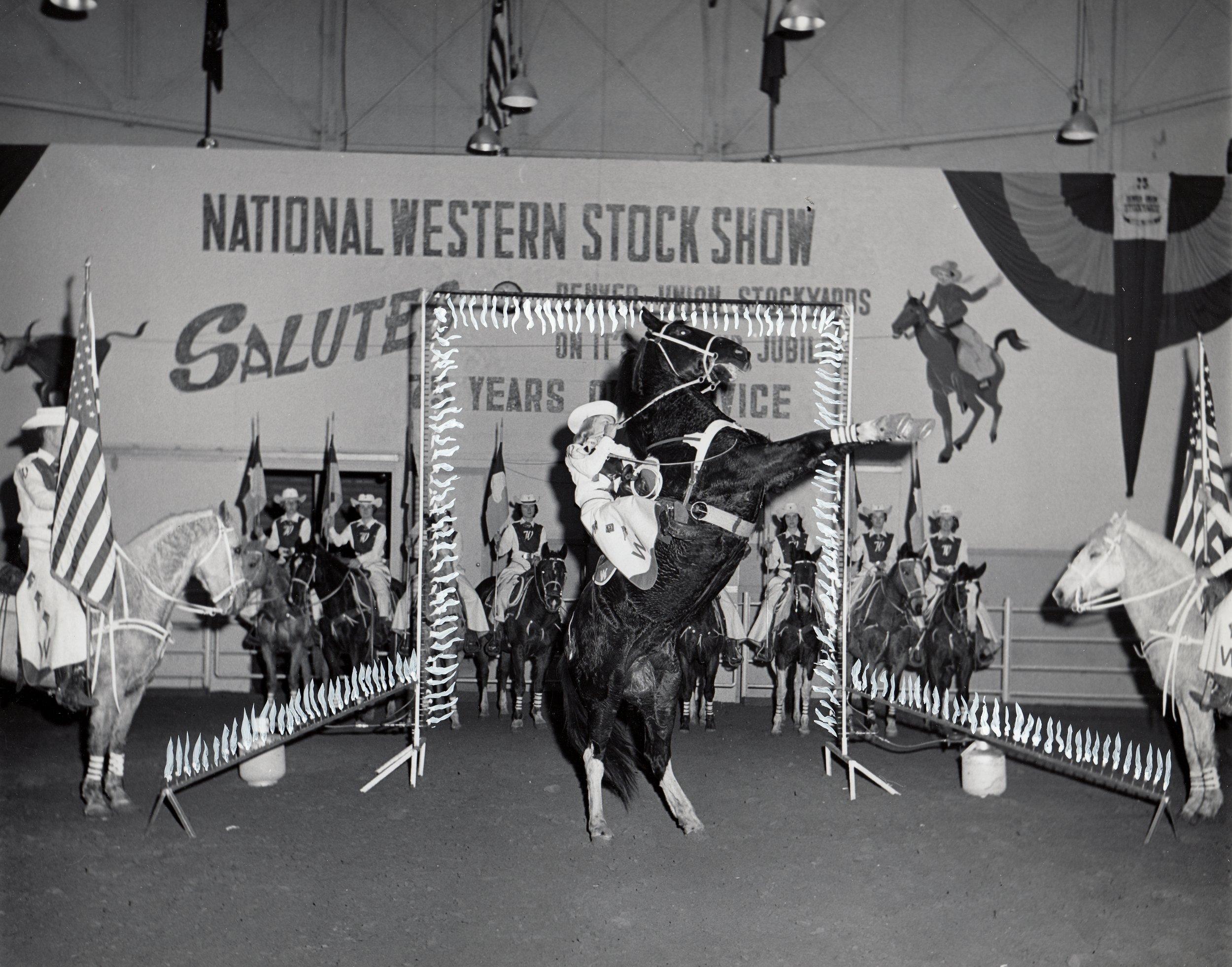 "Patty Hinshaw on ""Apache"" the trick horse, celebrating the Denver Union Stockyards' 75th anniversary."