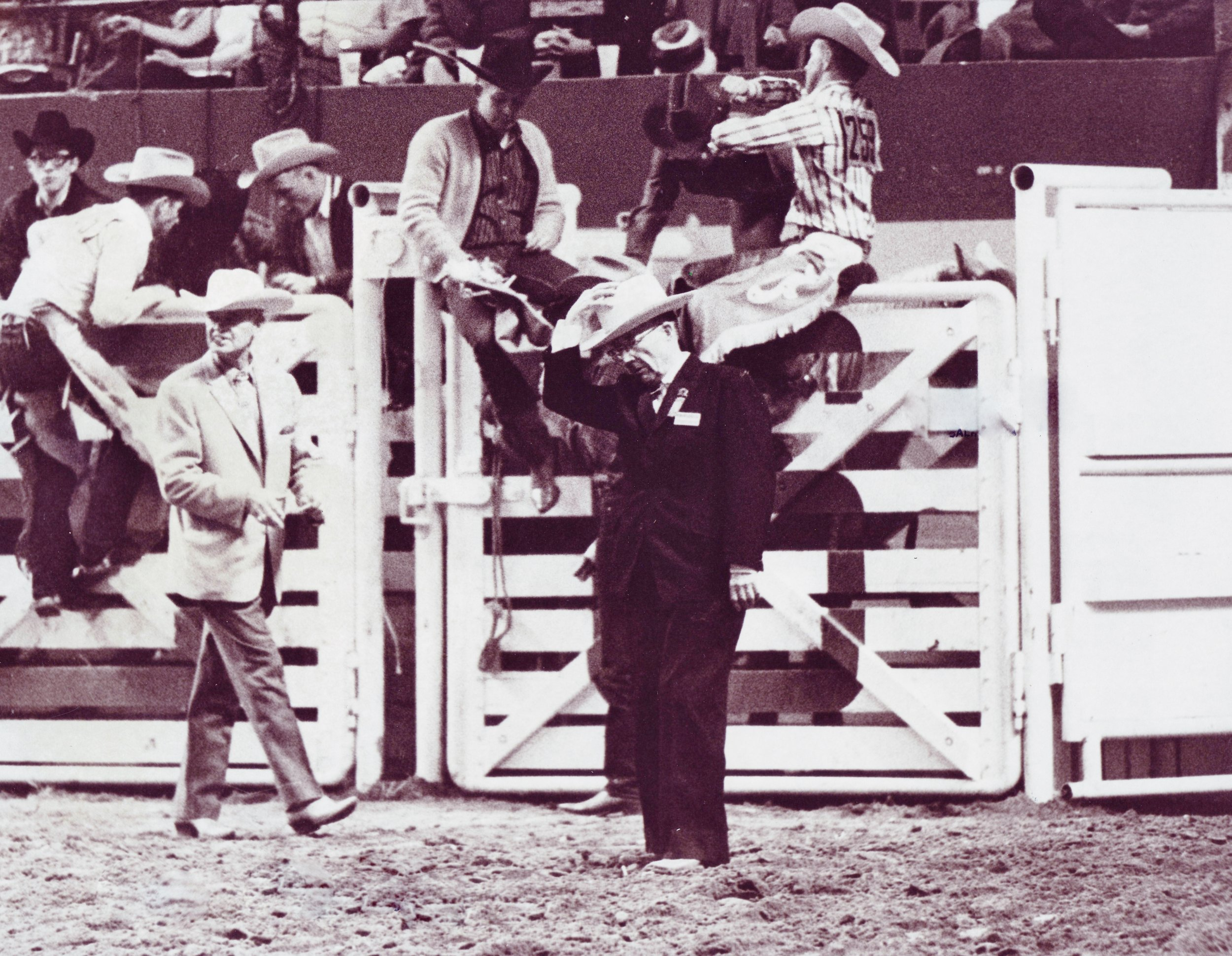 Westernaires founder, Elmer E. Wyland, gives a tip of the hat in the arena after a Westernaires performance at the 1967 National Western Stock Show.