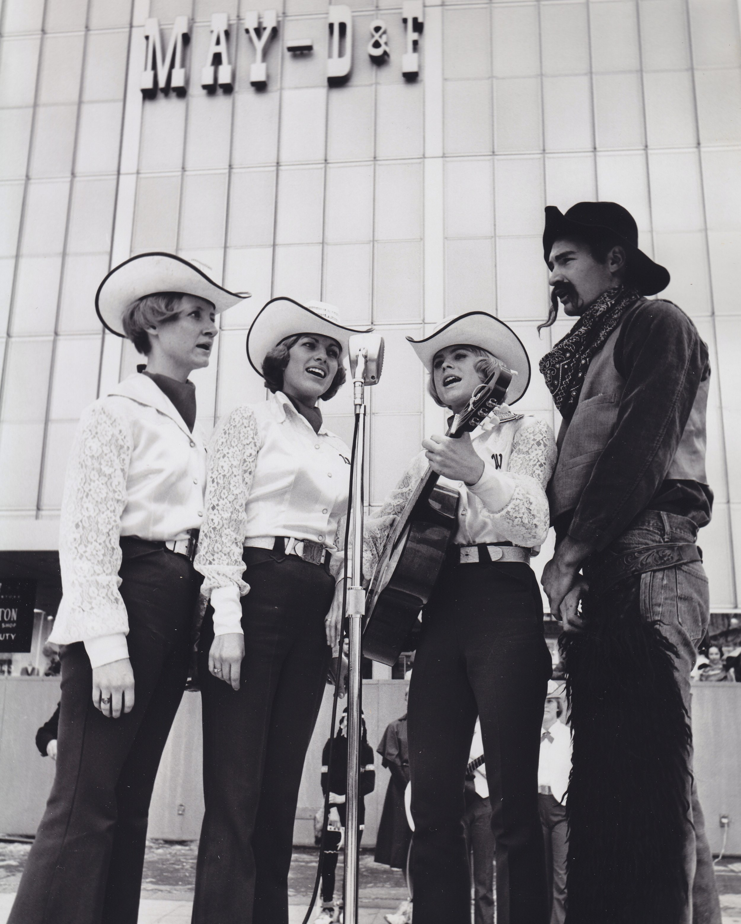 Not only are they great in the arena!  Westernaires specialty acts were tapped to perform a stage show on Denver's 16th Street - on top of the May D&F ice skating rink.  A Westernaires quartet entertains the audience on Denver's 16th Street on January 21st, 1967.