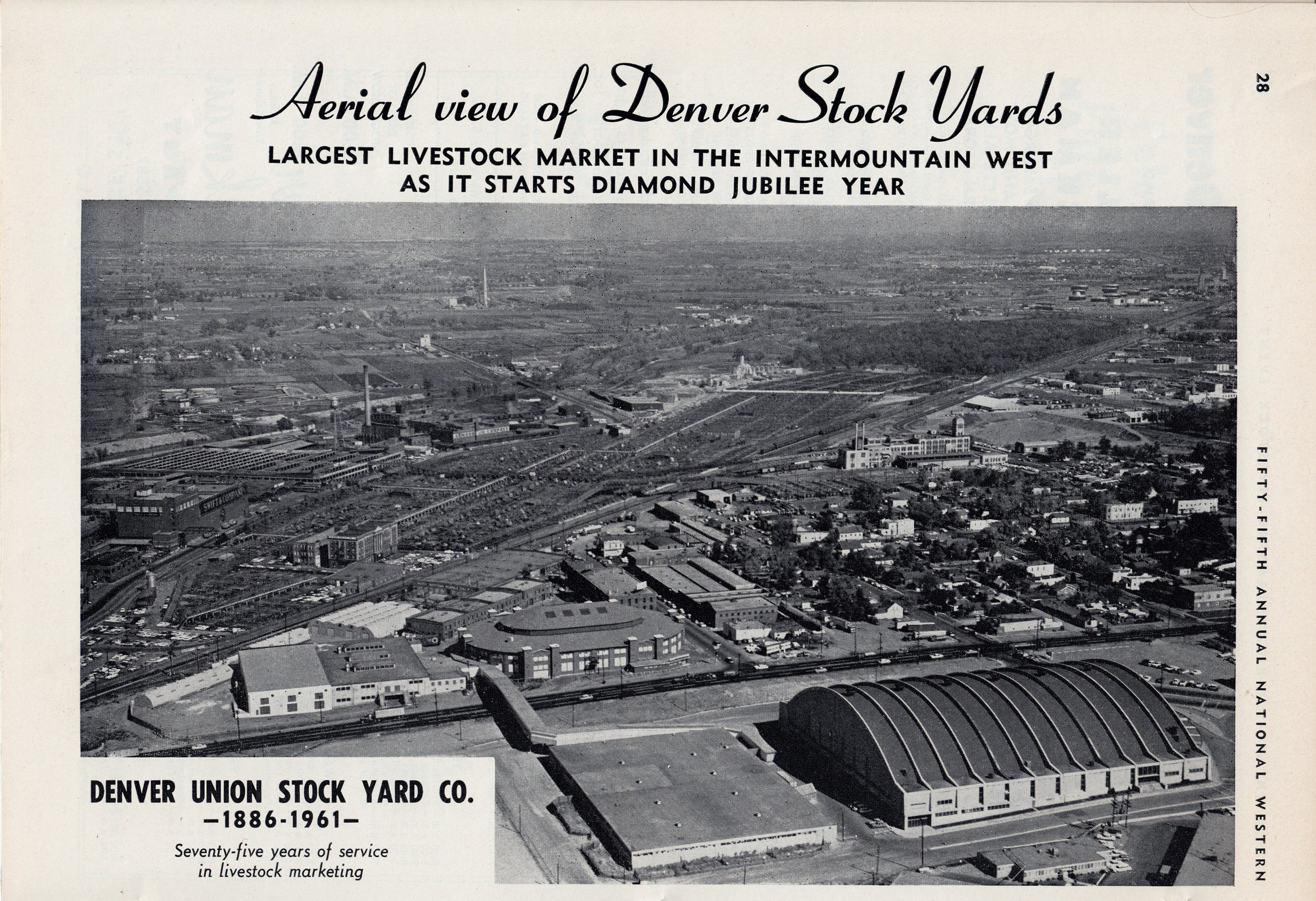 From the 1961 National Western Stock Show program, an aerial map of the Denver Union Stockyards as they looked in 1961.