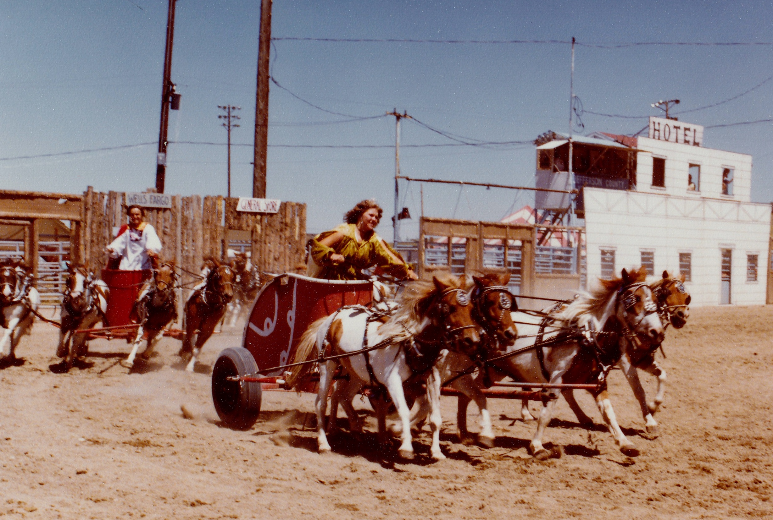 Debbie Parr drives her pony chariot at one of the Festival of the West arena shows in 1980.