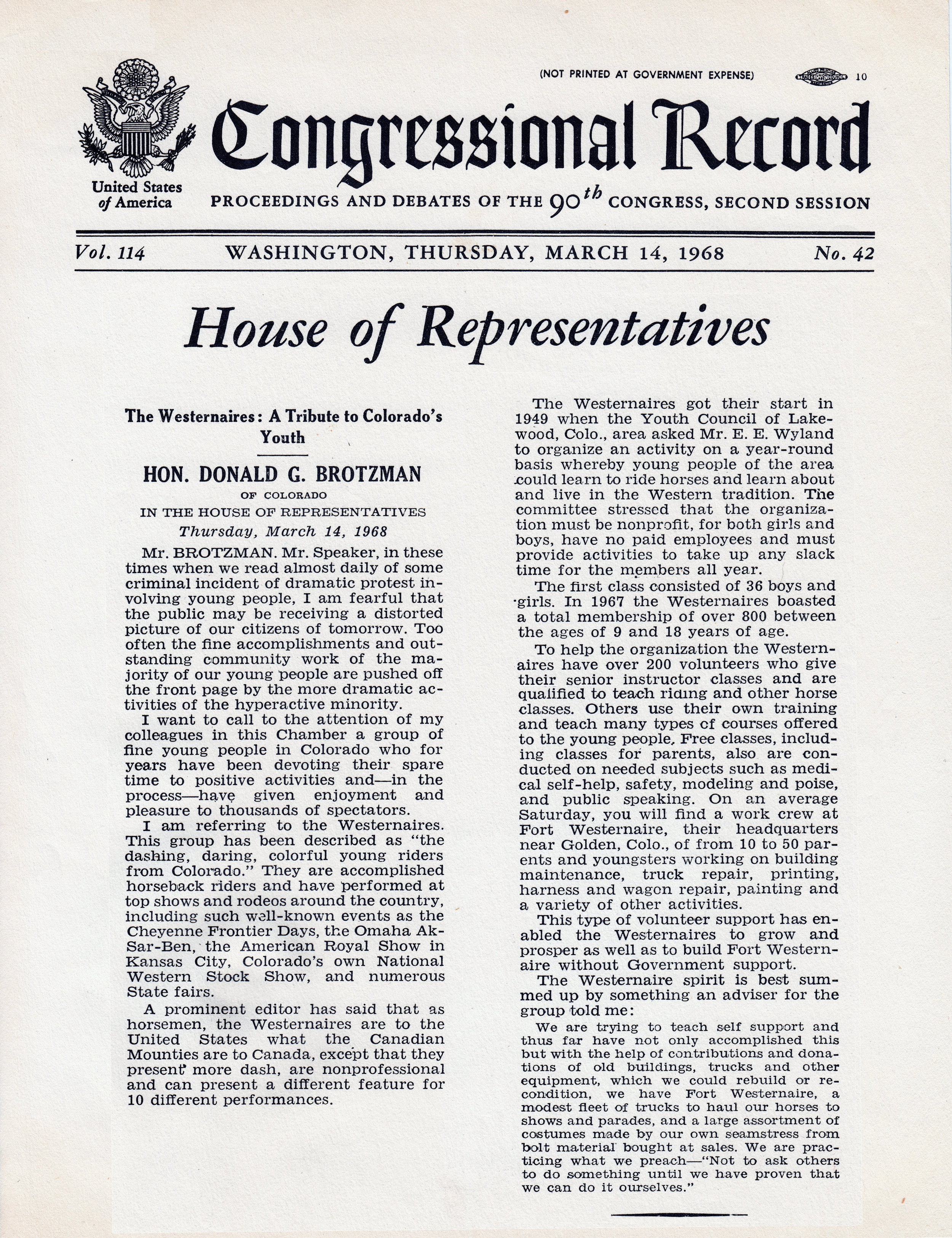 Congressional Record Westernaires 1968