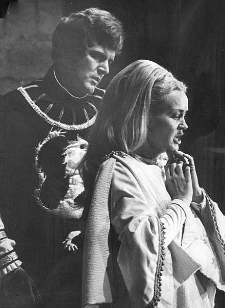 Wynne Miller and Robert Peterson as Guinevere and Lancelot in Denver Opera Foundation's 1969 production of  Camelot