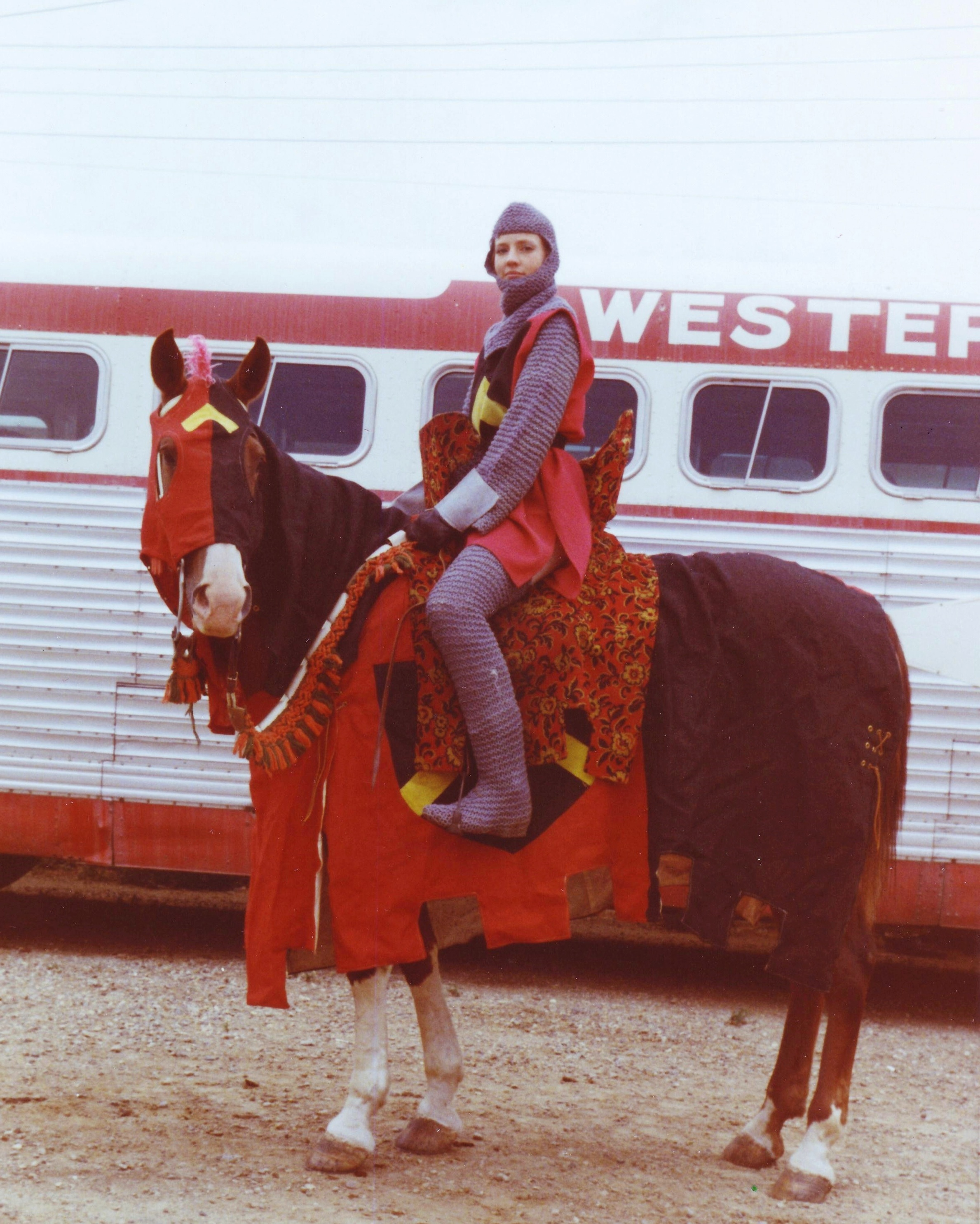 Westernaire rider Cheryl Andre and her horse, Blaze, in full  Camelot  tack and regalia