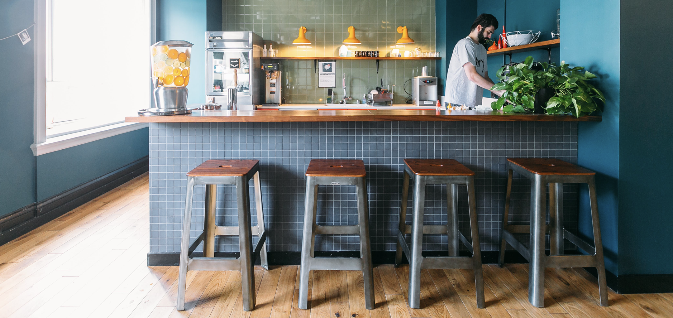 Kitchenette and coffee bar.