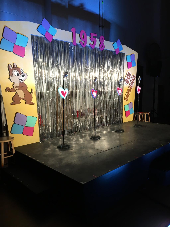 """11' Walls with Chipmunk Mascot Cutout 14' Header with """"1958"""" Cutout"""