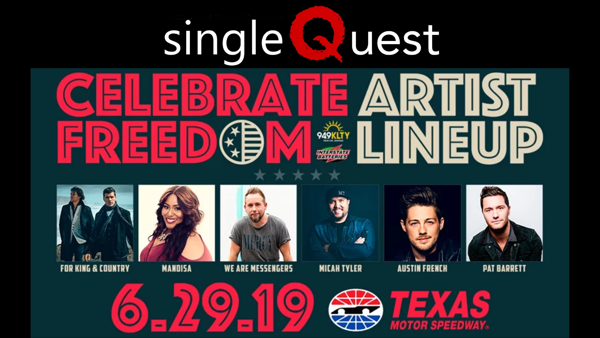 Join SingleQuest at the Celebrate Freedom concert! Admission to the concert is free, and the event will be hosted at Texas Motor Speedway. Register below and get ready for a fun evening together!