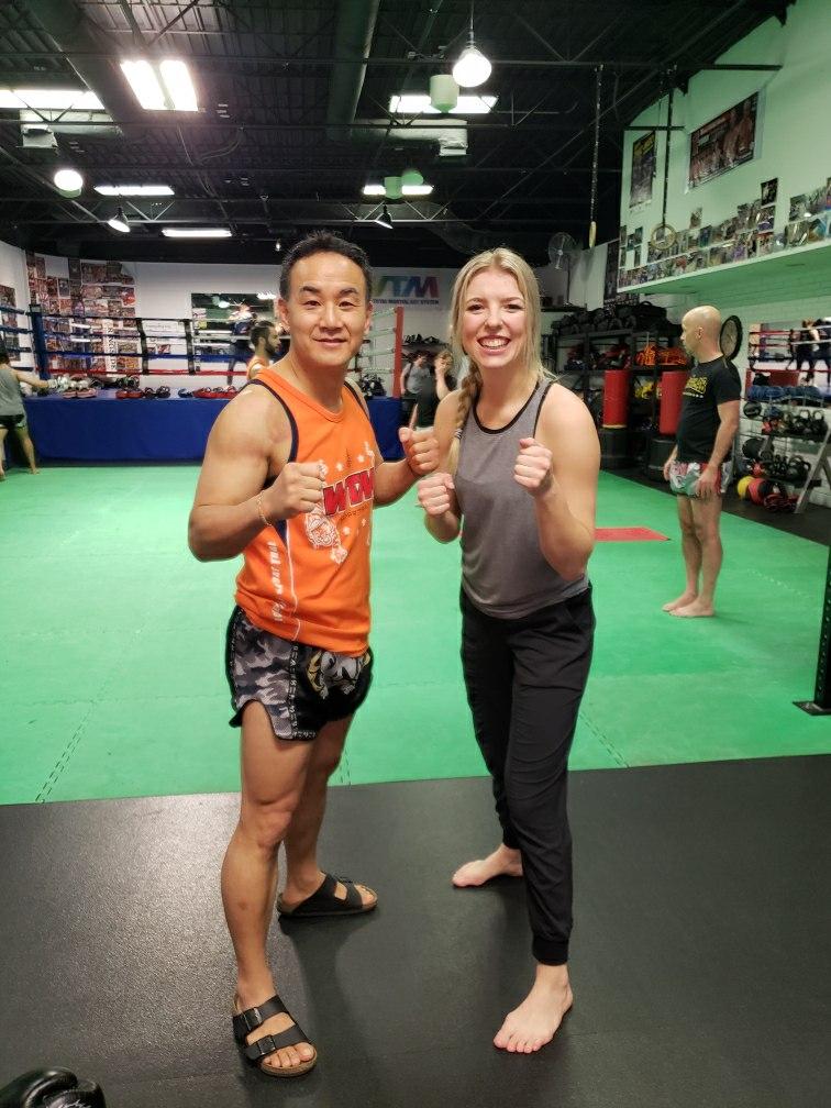 Albert, owner of WTM Muay Thai, and Angela (me)
