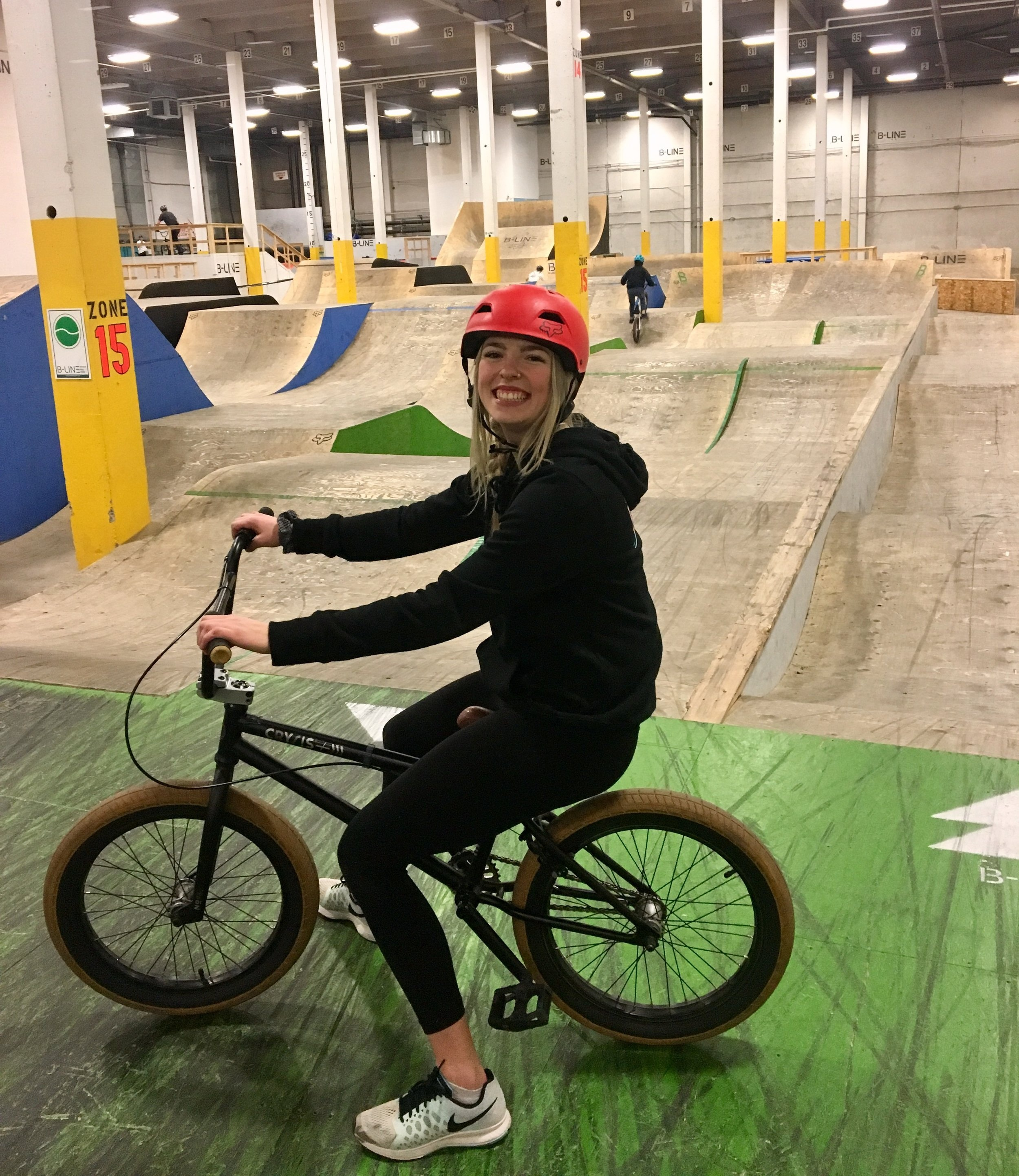 Angela (me) with her sweet BMX rental at B-LINE