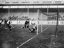 A game of hockey being played between Germany and Scotland at the 1908 London Olympics