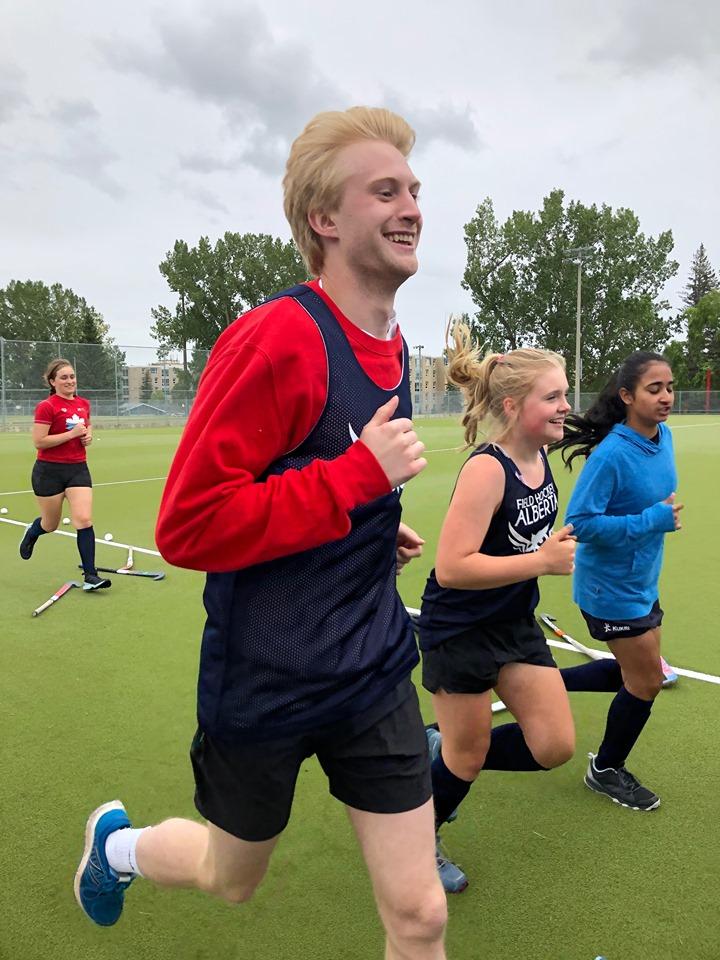 Matt warming up with the Team Alberta girls