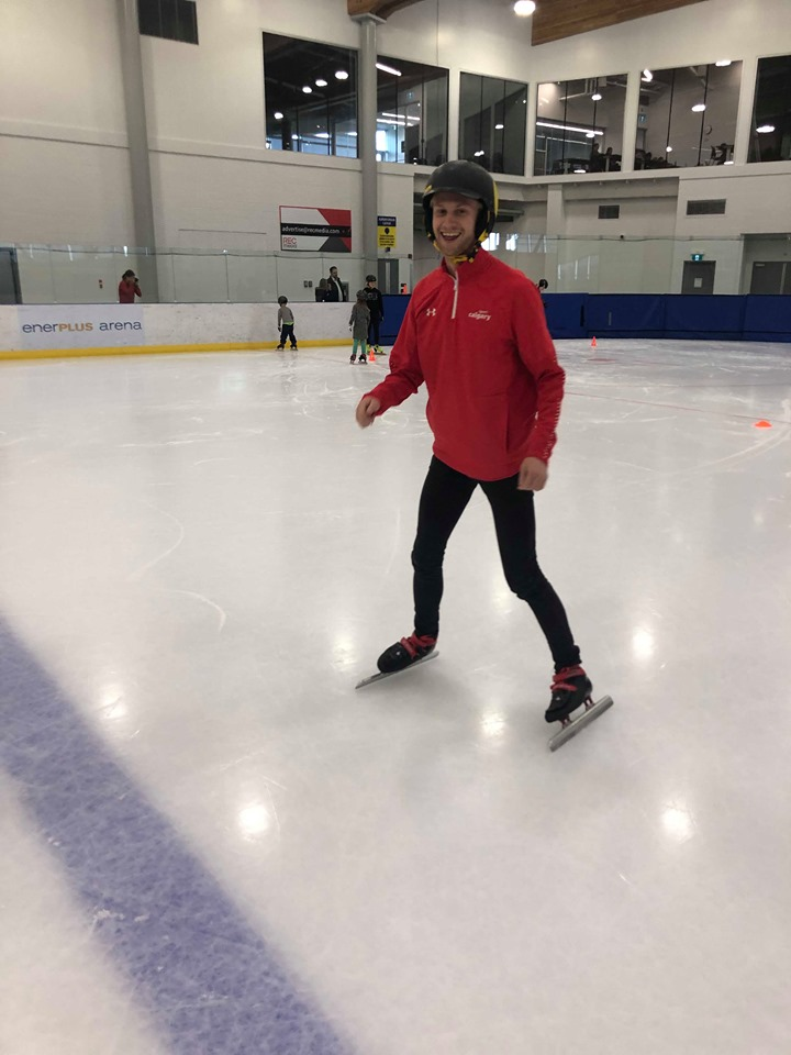 Matt first starting off the speed skating session looking like a baby deer on the ice