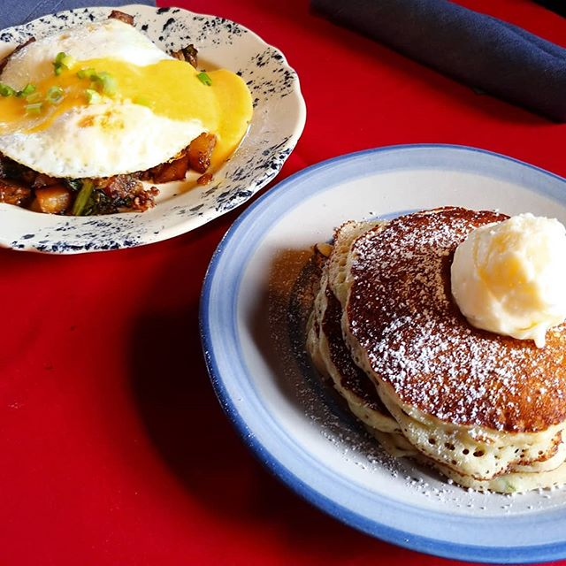 Happy Saturday, we've got #zucchinibread #pancakes with cream cheese topping and a Scottish breakfast hash with #lornesausage we made in house with #neepsandtatties that potatoes and turnip greens with onions 2 eggs and hollandaise #nkyeats #cincyfood #lovethecov #mainstrassevillage #scottish