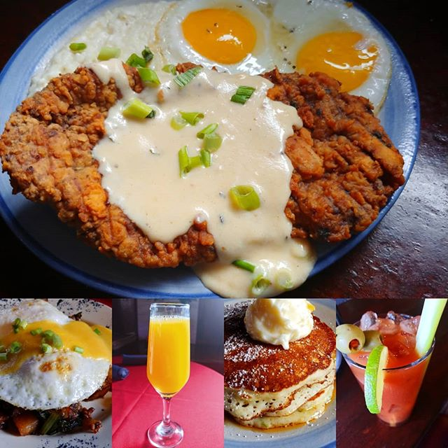 Happy Father's Day.  We got the old man's favorite, #chickenfriedsteak and eggs with cheese #gritsandgravy that is Texan approved.  Rocking #bottomlessmimosas #hashandeggs with Scottish beef sausage.  Zucchini bread #pancakes #nkyeats #lovethecov #countryfriedsteak #damnfinefood #zucchinibread #brunch #fathersday