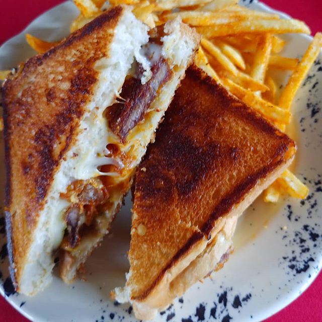 Fancy #grilledcheese features spicy pork, pepper jack and cheddar.  #dinner