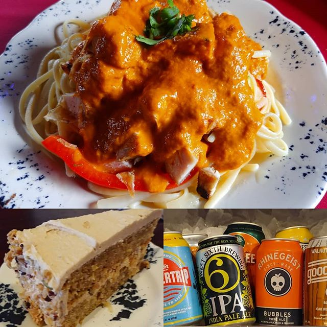 Thursday means #craftcans are on sale. Josh is infusing the flavors of India into Butter chicken #pasta.  We still have some zucchini brown sugar cake.  #nkyeats #lovethecov #cincyfood #butterchicken #dinner #zucchinibread