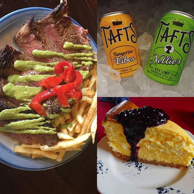 Friday night means #steak with fries and #chimichurri we got some refreshing local brews from @taftsbrewingco and Josh's lemon blueberry cheesecake. #dinner #steakfrites #drinklocal #eatlocalcincy #lovethecov #nkyfood #cincyfood