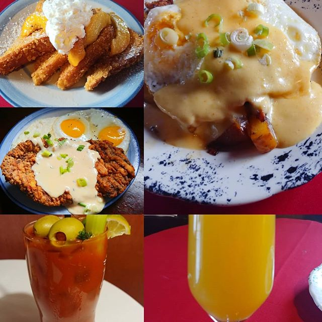 Get your #brunch on with us, we got spicy #nola style sausage hash that is #glutenfree , fresh #peachesandcream #frenchtoast and some #chickenfriedsteak and eggs.  #mimosas and #bloodymarys so let's do this.  #nkyeats #cincyfood #lovethecov #steakandeggs
