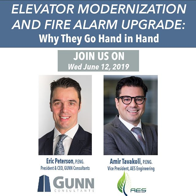 Interested in learning more about Elevator Modernization and Fire Alarm Upgrade? . On Wednesday June 12 Eric Peterson of @gunnconsultants and Amir Tavakoli of AES will be hosting a discussion with industry experts to learn how these two services go hand in hand. . RSVP at the link in bio to join us for this exciting event! . We hope to see you on June 12th! .  #engineering #elevator #electrical #presentation #yyc #aesengr #DesigningABetterTomorrow
