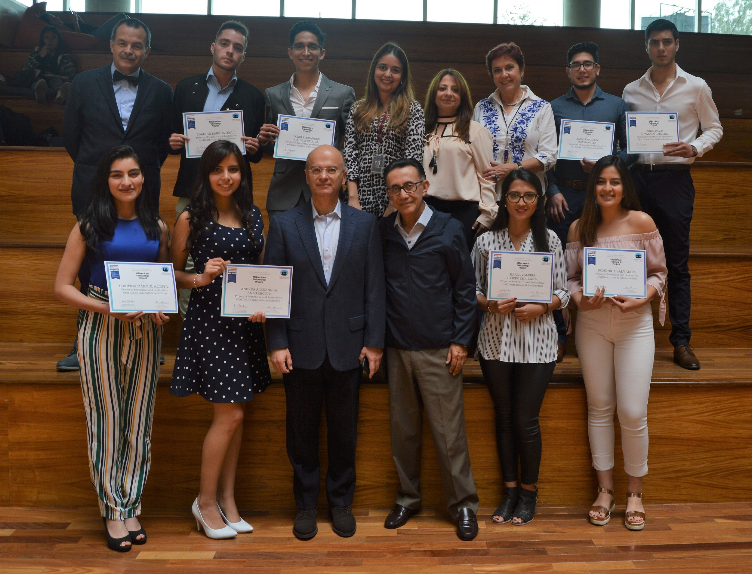 Millennium Fellows at the Universidad de Las Américas in Quito, Ecuador awarded their Millennium Fellowship certificates and celebrated by university staff, faculty, and Rector Carlos Larreategui.