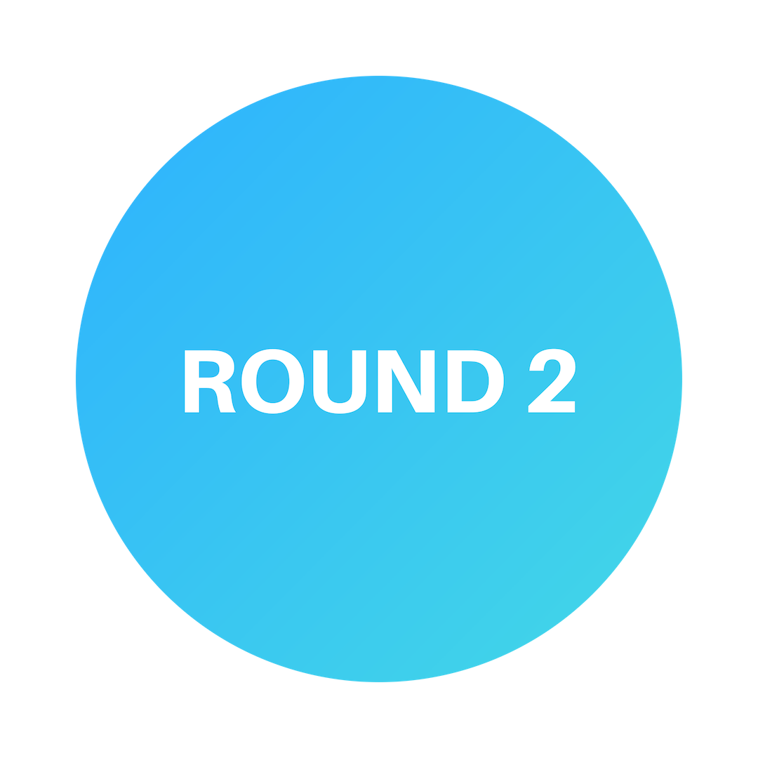After reviewing Round 1, you will receive a decision via email. Selected applicants will receive the link to begin Round 2.