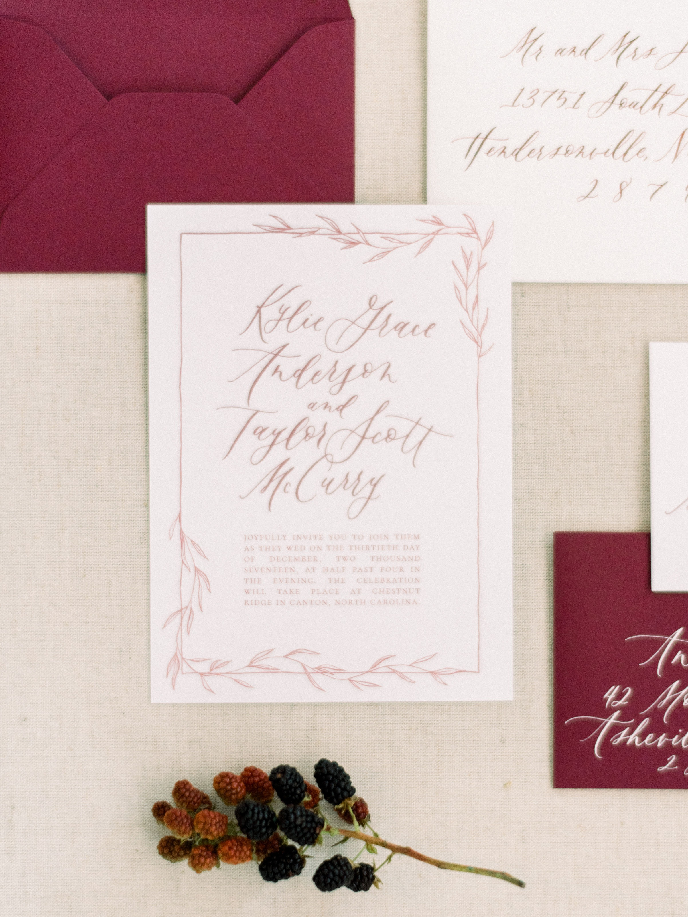 Burgundy+Organic+Wedding+Invitation+Suite