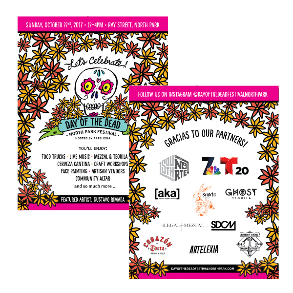 Day of the Dead Festival North Park Event Postcard