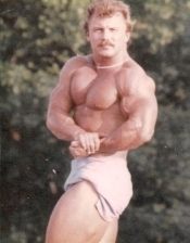 Lee Harrison in training for a bodybuilding contest in 1986.
