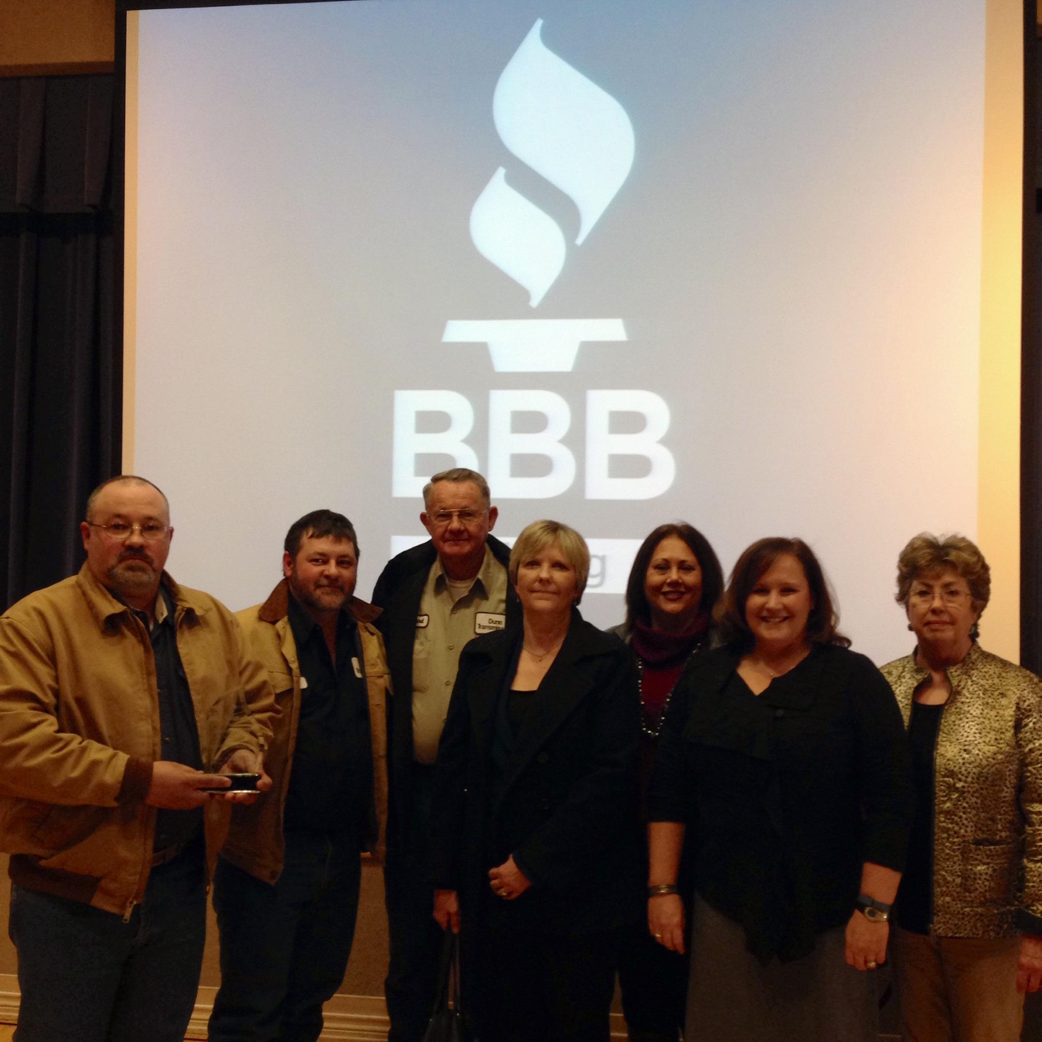 Receiving the Better business bureau of East Texas award of Excellence.