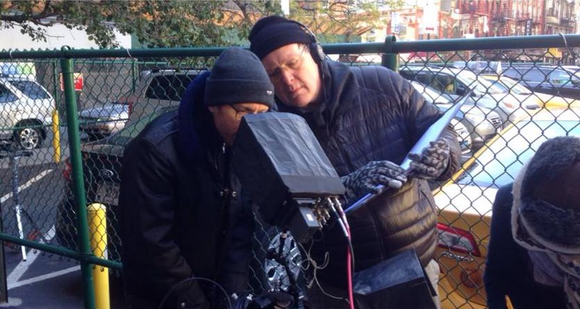 Clayton Dean Smith and Joe Locarro on set of Off Track Betty