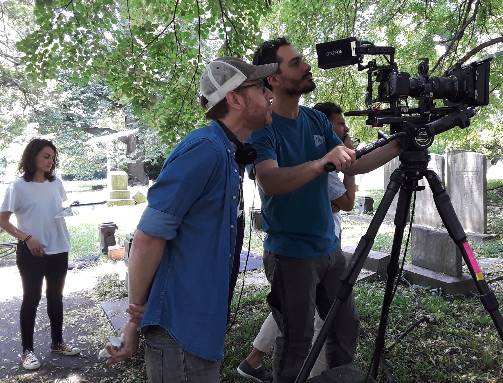 Clayton and DP Giacomo Belletti on set of Too Late