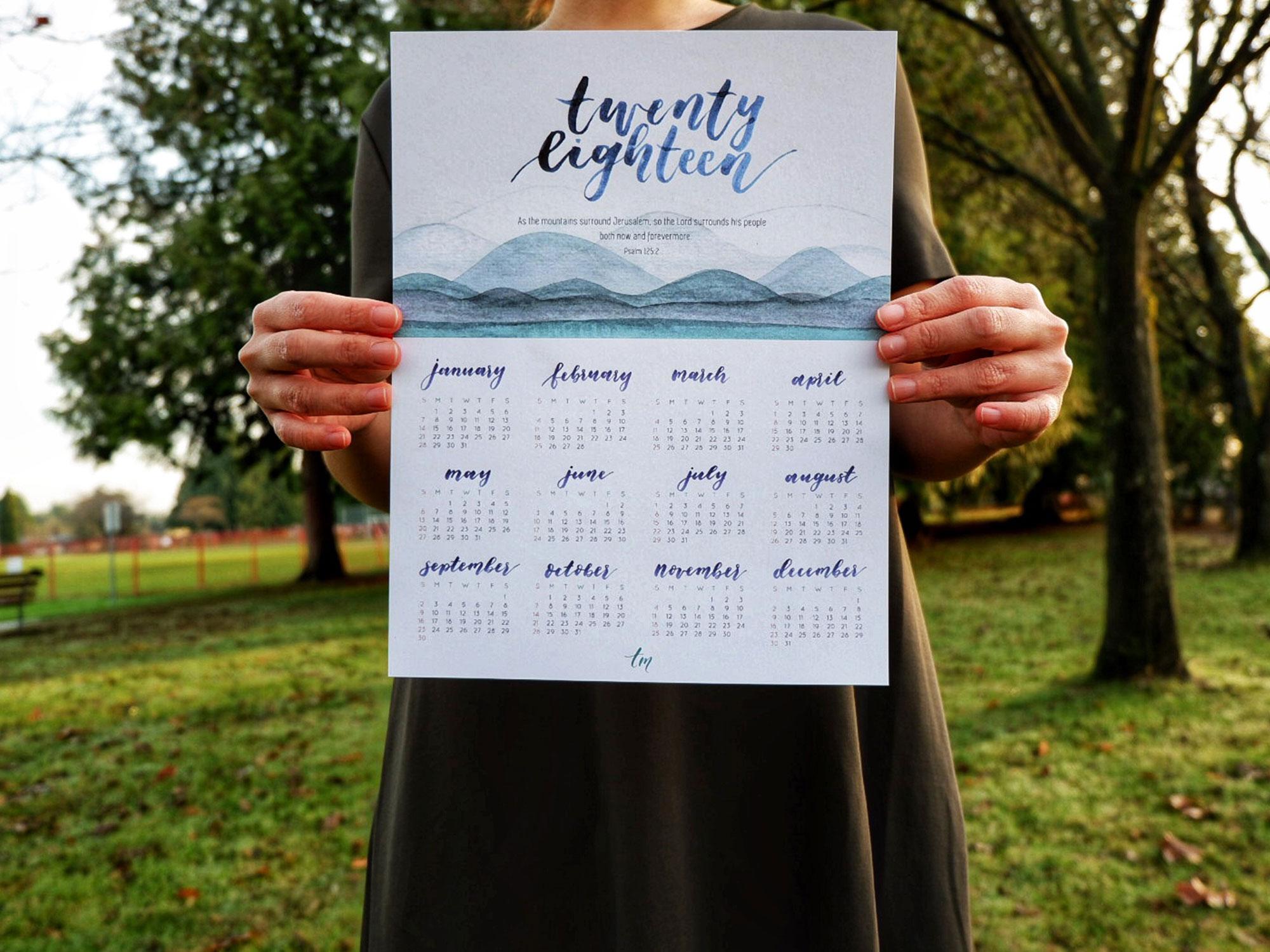 2018 calendar calligraphy handlettering