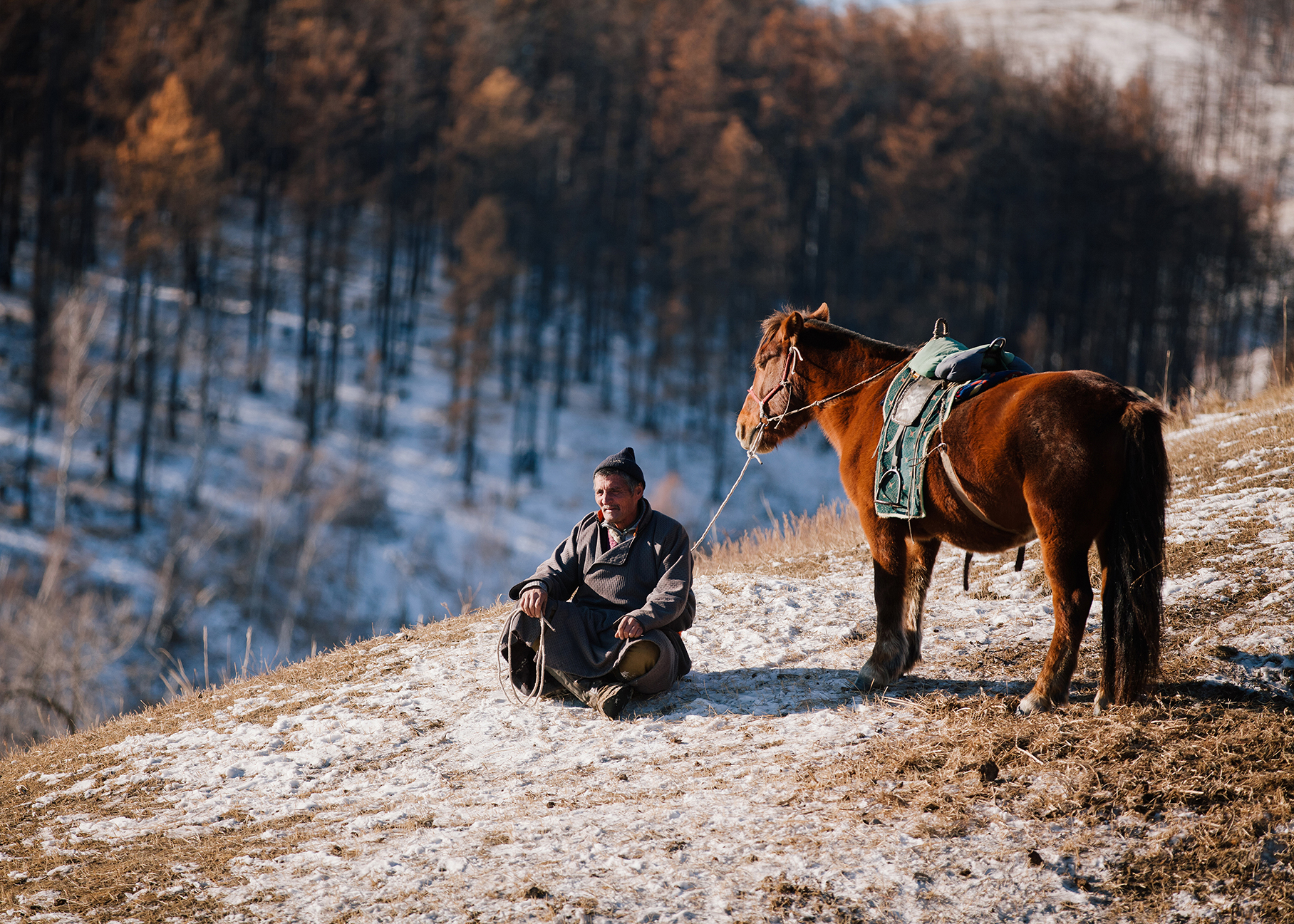 Man and his horse, Mongolia